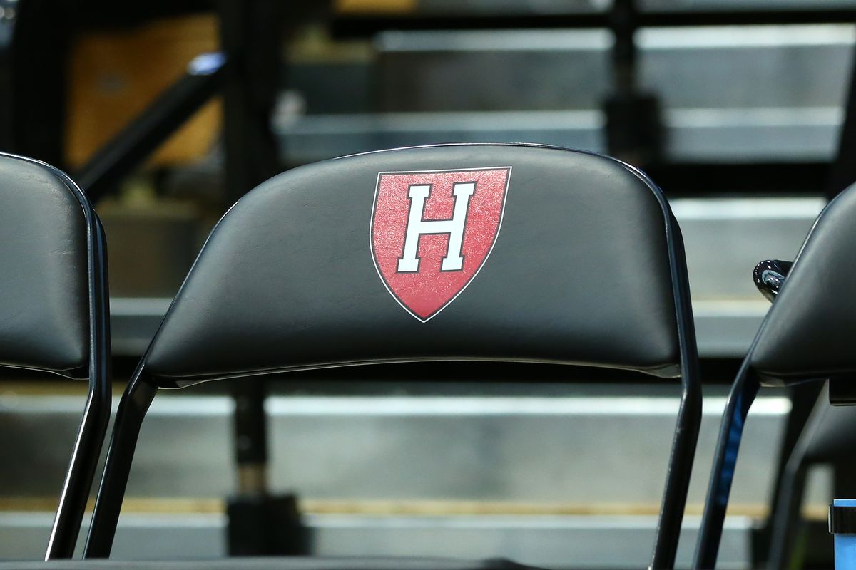 General view of the Harvard Crimson logo during a college basketball game against UMass Minutemen on December 7, 2019, at Lavietes Pavilion in Allston, MA.