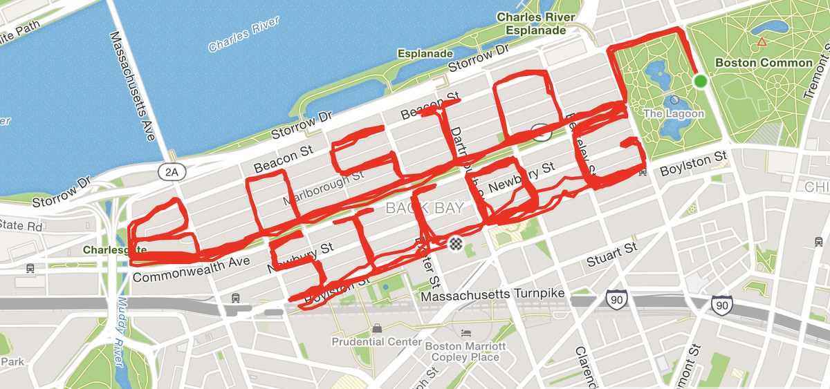 """Map of Boston streets with Lindsay Devers' GPS marathon route in red lines, misspelling the words """"BOSTON STRONG"""" as """"BOSTON STROG"""""""