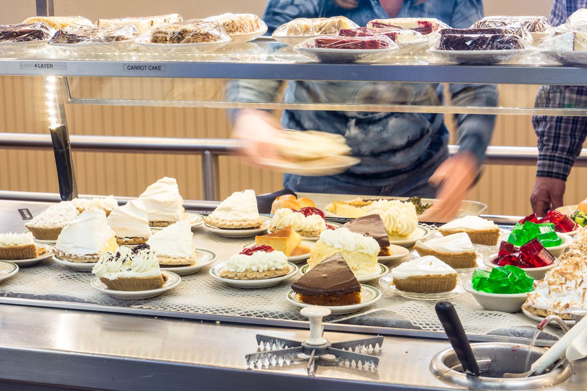 Pies and Jell-O up for grabs on the serving line.