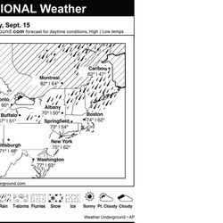 This is the Weather Underground forecast for Saturday, September 15, 2012 for the eastern region of the U.S.