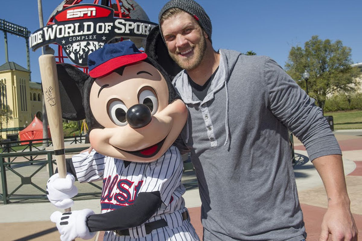 (MARCH 4, 2013):  Reigning National League Rookie of the Year Bryce Harper of the Washington Nationals poses March 4, 2013 with Mickey Mouse at ESPN Wide World of Sports Complex at Walt Disney World in Lake Buena Vista, Fla.