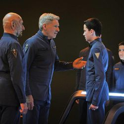 """From left, Ben Kingsley, Harrison Ford, Asa Butterfield and Aramis Knight star in """"Ender's Game."""""""