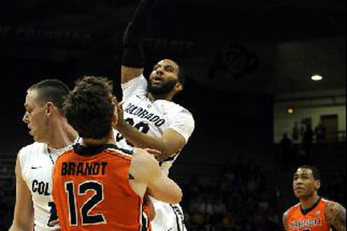 Carlon Brown, like most of the Buffs, sailed high over Oregon St., as Colorado claimed a dominating 82-60 win. <em>(Daily Camera photo)</em>