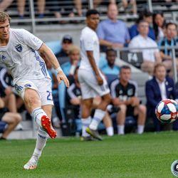 July 3, 2019 - Saint Paul, Minnesota, United States - San Jose midfielder Florian Jungwirth (23) kicks the ball during the Minnesota United vs San Jose Earthquakes match at Allianz Field.