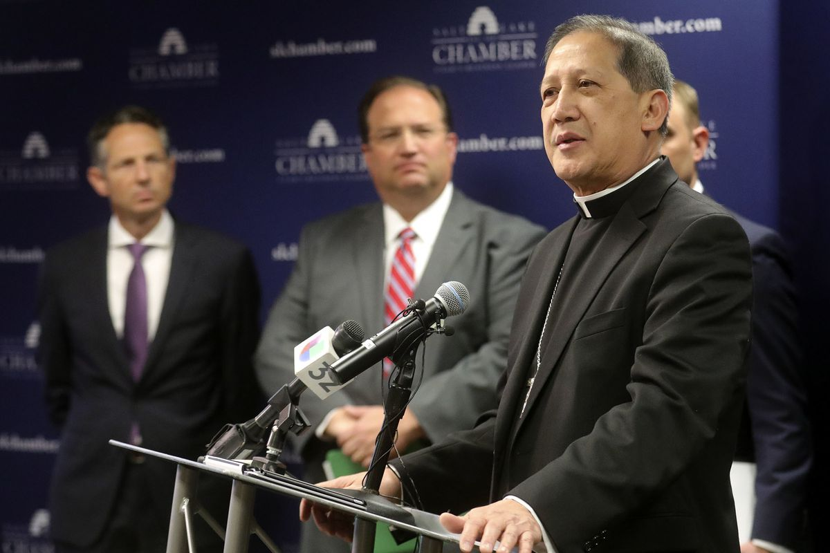 The Most Rev. Oscar Solis, bishop of the Catholic Diocese of Salt Lake City, speaks about the need to support families during a press conference at the Salt Lake Chamber in Salt Lake City on Thursday, March 21, 2019, where community leaders reaffirmed the