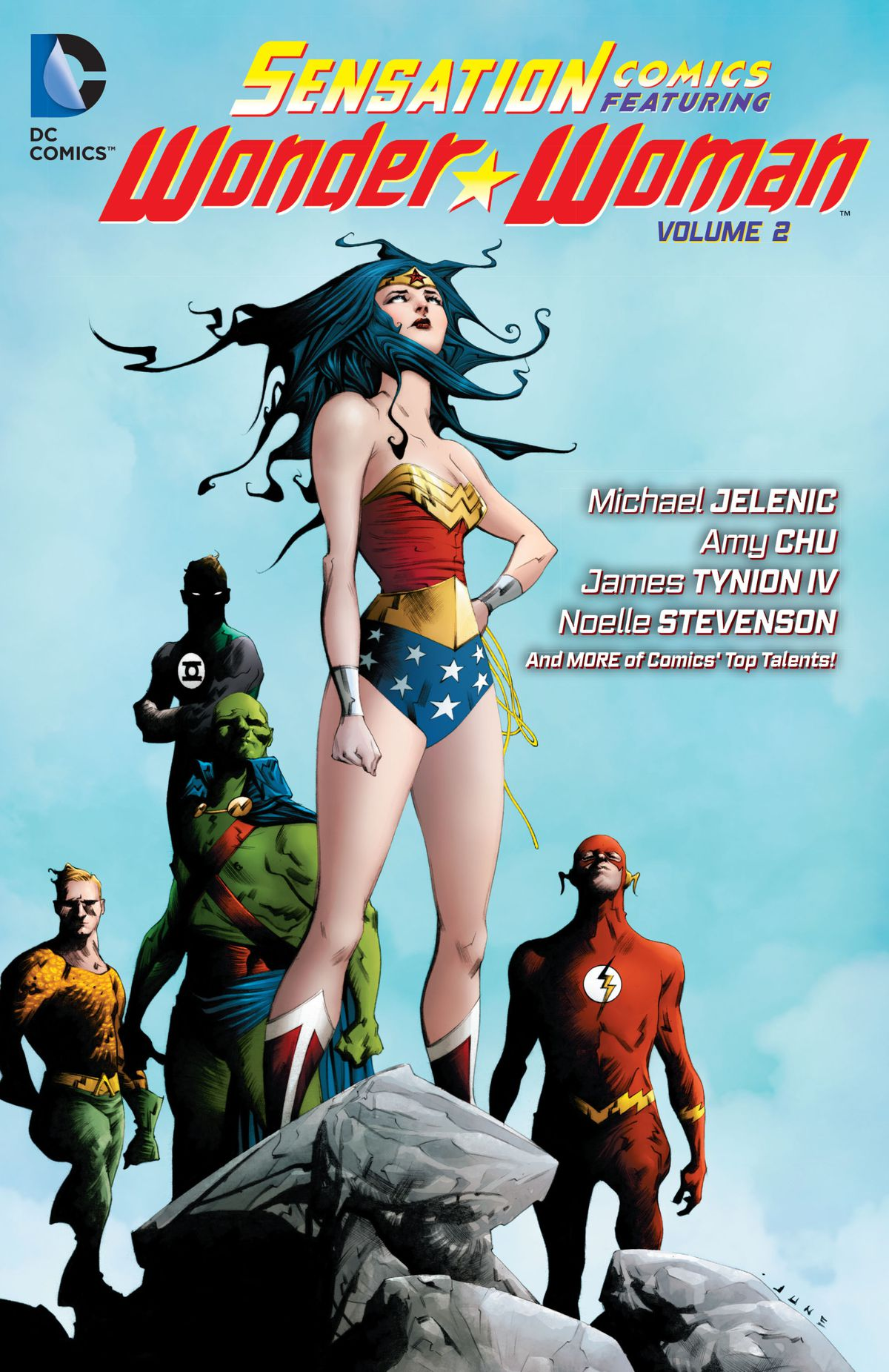 Wonder Woman stands with Green Lantern, Aquaman, the Martian Manhunter, and the Flash behind her on the cover of Sensation Comics Featuring Wonder Woman Vol. 2.