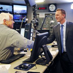 KSL Newsradio's Doug Wright shakes hands with Tanner Ainge, a Republican congressional candidate in the 3rd District, following an interview with in Salt Lake City on Tuesday, June 20, 2017.