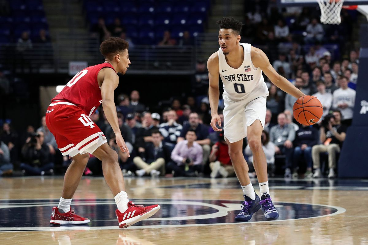 Penn State Nittany Lions guard Myreon Jones dribbles the ball as Indiana Hoosiers guard Rob Phinisee defends during the first half at Bryce Jordan Center. Penn State defeated Indiana 64-49.