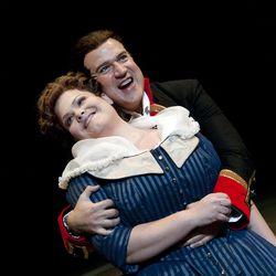 Michael Chioldi (Count di Luna) and Jennifer Check (Leonora) in Utah Opera's production of Verdi's Il Trovatore, October 13-21 at the Capitol Theatre.