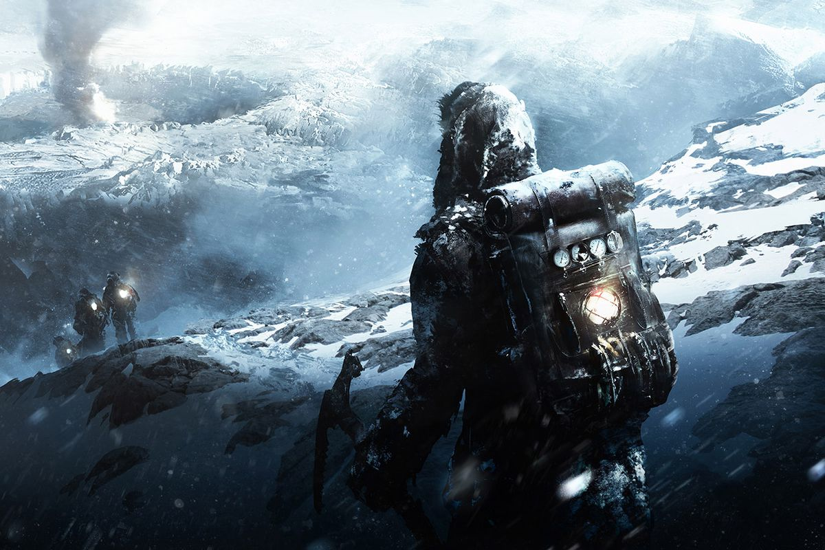 Frostpunk - person trailing behind group walking across glacier
