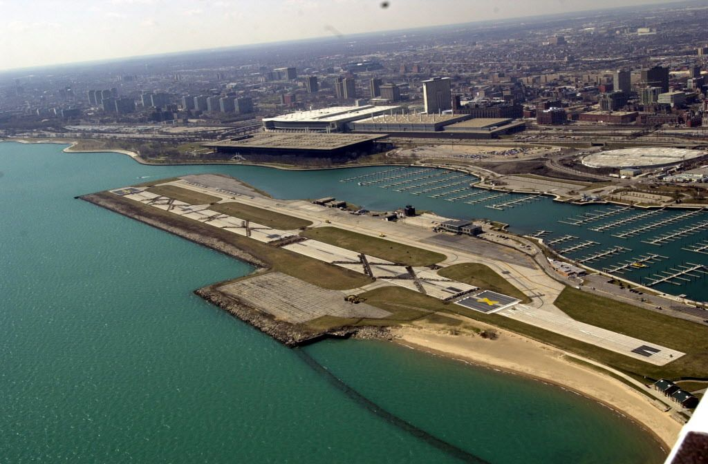 """The giant """"X"""" marks bulldozed into the pavement at Meigs Field in 2003 that Mayor Richard M. Daley ordered, closing the airport and allowing it to be turned into parkland.   Brian Jackson / Sun-Times files"""