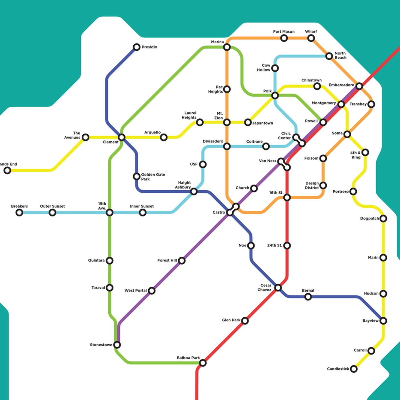 Wouldn't it be glorious if this fantasy San Francisco BART ... on bart station map, bart line map, san francisco bus routes, bart extension map, amtrak route map, los angeles metro route map, sf bart map, east bay bart map, bart hotel map, bay area bart route map, bart rail map, sfo bart map, bart super mario map, washington metro route map, bart system map, bart schedule & map, bay area rail map, bart subway map, bart train map, bart parking map,