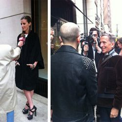 At left, Amanda Brooks and her shoes; at right, Simon Doonan talks to the press