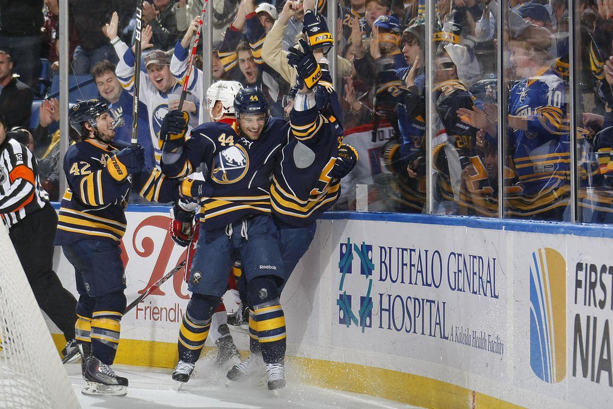 Zack Kassian celebrates his first career NHL goal.