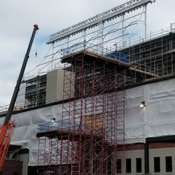 Closeup of scaffolding on west side of ballpark