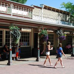 Although it looks lost in time, the central area of Lagoon's Pioneer Village is popular among the park's modern visitors.