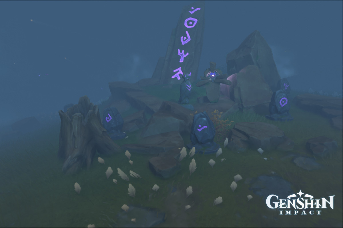 A pillar with several purple glowing symbols on it