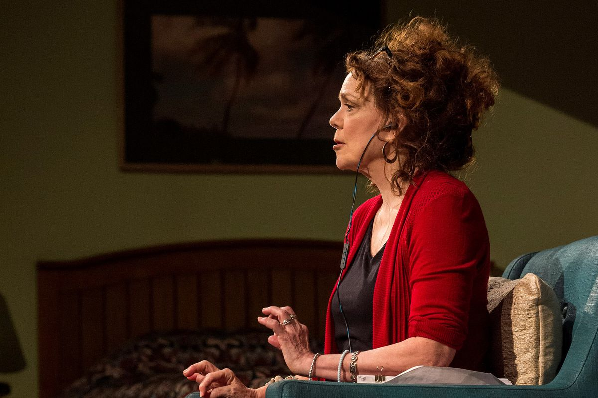 """Deirdre O'Connell stars as the real-life Dana Higginbotham in the world premiere of Lucas Hnath's """"Dana H.,"""" directed by Les Waters at the Goodman Theatre."""