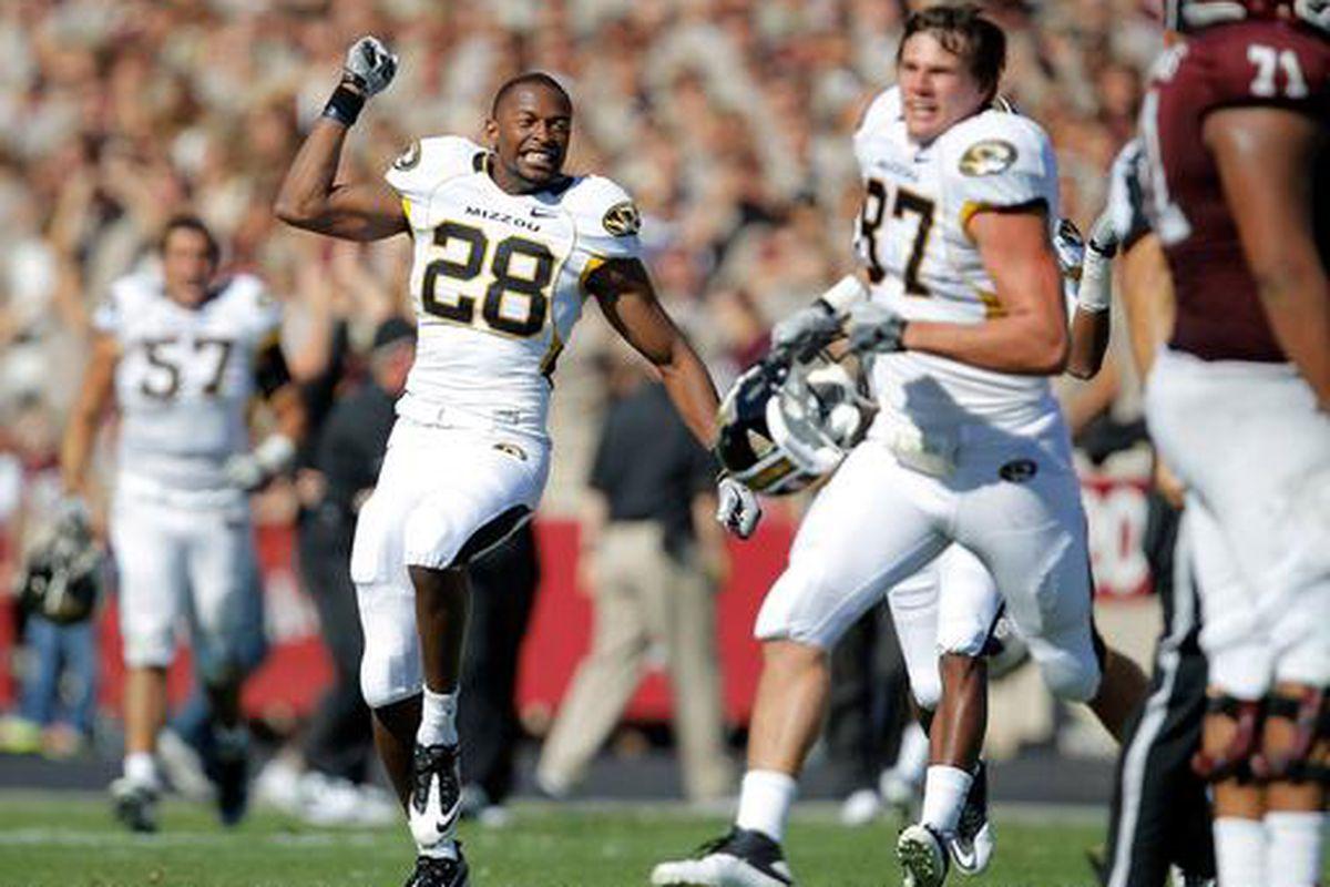 Missouri Tigers celebrating a football victory