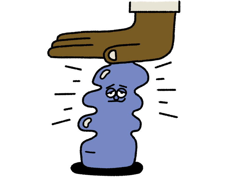 A hand squashes a resigned looking plastic bottle. This is an illustration.