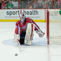 Holtby Tries to Stop Puck