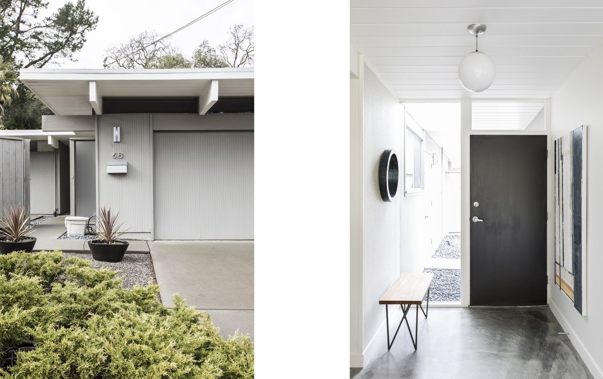The exterior and entry hall of a Northern California Eichler home.