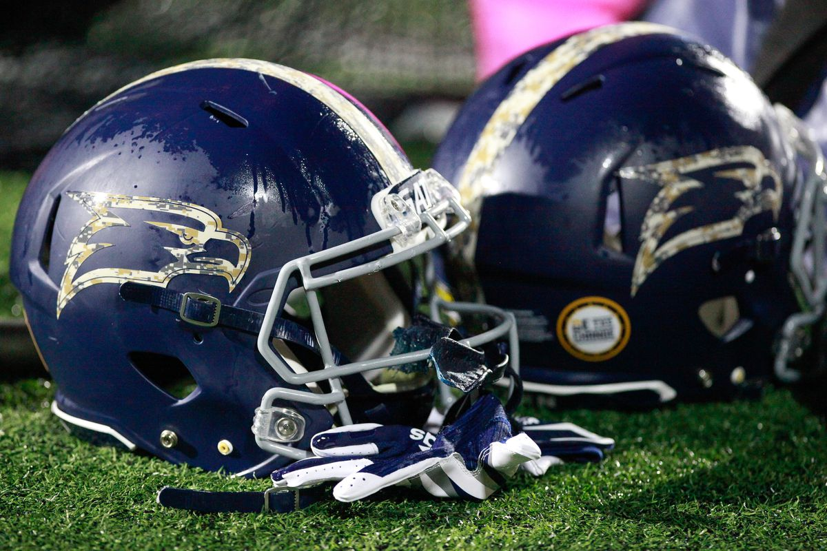 Georgia Southern Eagles helmets shown with a camouflage pattern logo for Military Appreciation Night during the Eagles game against the South Alabama Jaguars on October 29, 2020 at Allen E. Paulson Stadium in Statesboro, Georgia.