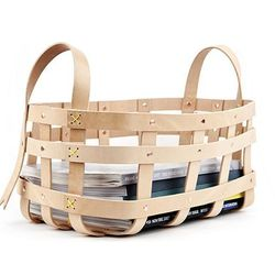 """Leather Strap Magazine Backet at the <b>ICA Store</b>, <a href=""""http://www.icastore.org/store/product/25496/Leather-Strap-Magazine-Basket/"""">$250</a>"""