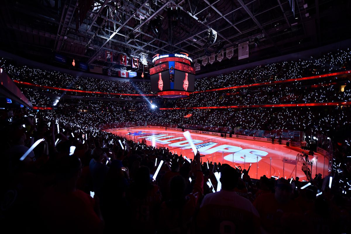 A general view of the arena prior to Game Four of the Stanley Cup Final between the Washington Capitals and Vegas Golden Knights during the 2018 NHL Stanley Cup Playoffs at Capital One Arena on June 4, 2018 in Washington, DC.