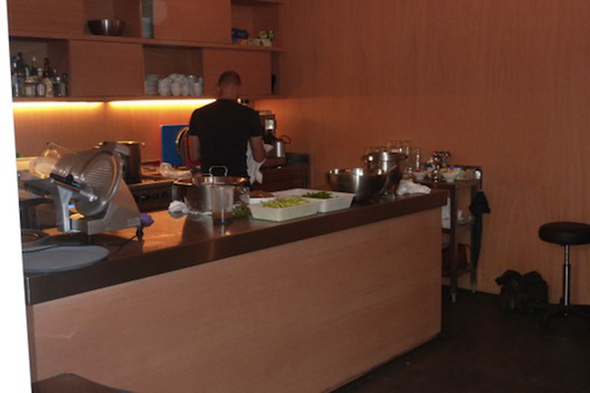 """The kitchen at Demeulemeester, via <a href=""""http://twitpic.com/5i8iuj"""">@robinschulie</a>"""