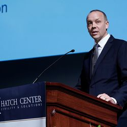 """Matt Sandgren, executive director of the Orrin G. Hatch Foundation, speaks during """"An Evening With Neil Gorsuch"""" hosted by the Hatch Center at Brigham Young University on Friday, Sept. 20, 2019."""