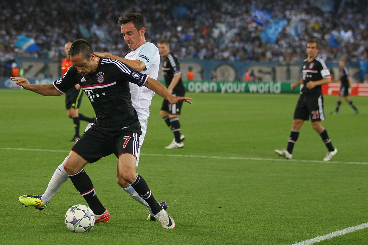 Drmic, with a forward's challenge on Monsieur Ribery.