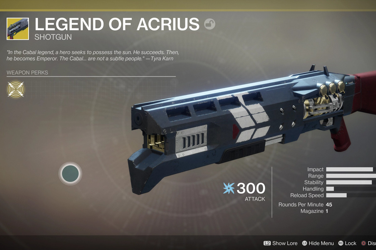 The Legend Of Acrius Shotgun Bungie Activision Destiny 2 Guide