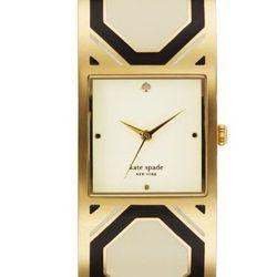 "Delacorte Bangle in black/white octogonal, <a href=""http://www.katespade.com/delacorte-bangle/1YRU0056,default,pd.html?dwvar_1YRU0056_color=067&start=9&cgid=watches"">$295</a>."