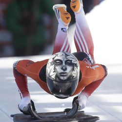 Canada's Sarah Reid competes at the skeleton World Cup event Friday, Dec. 6, 2013, in Park City. Reid came in third place.
