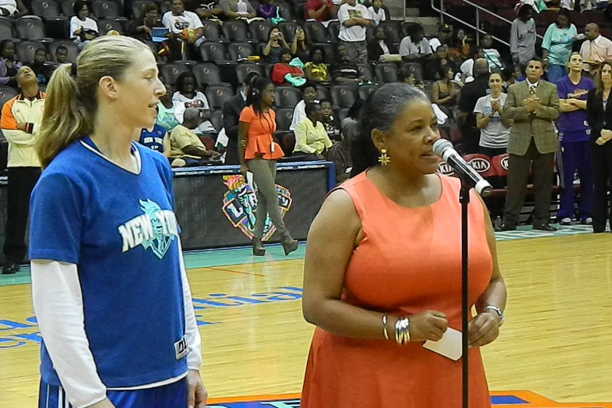 WNBA President Laurel Richie in a pre-game ceremony honoring the retiring Katie Smith of the New York Liberty.