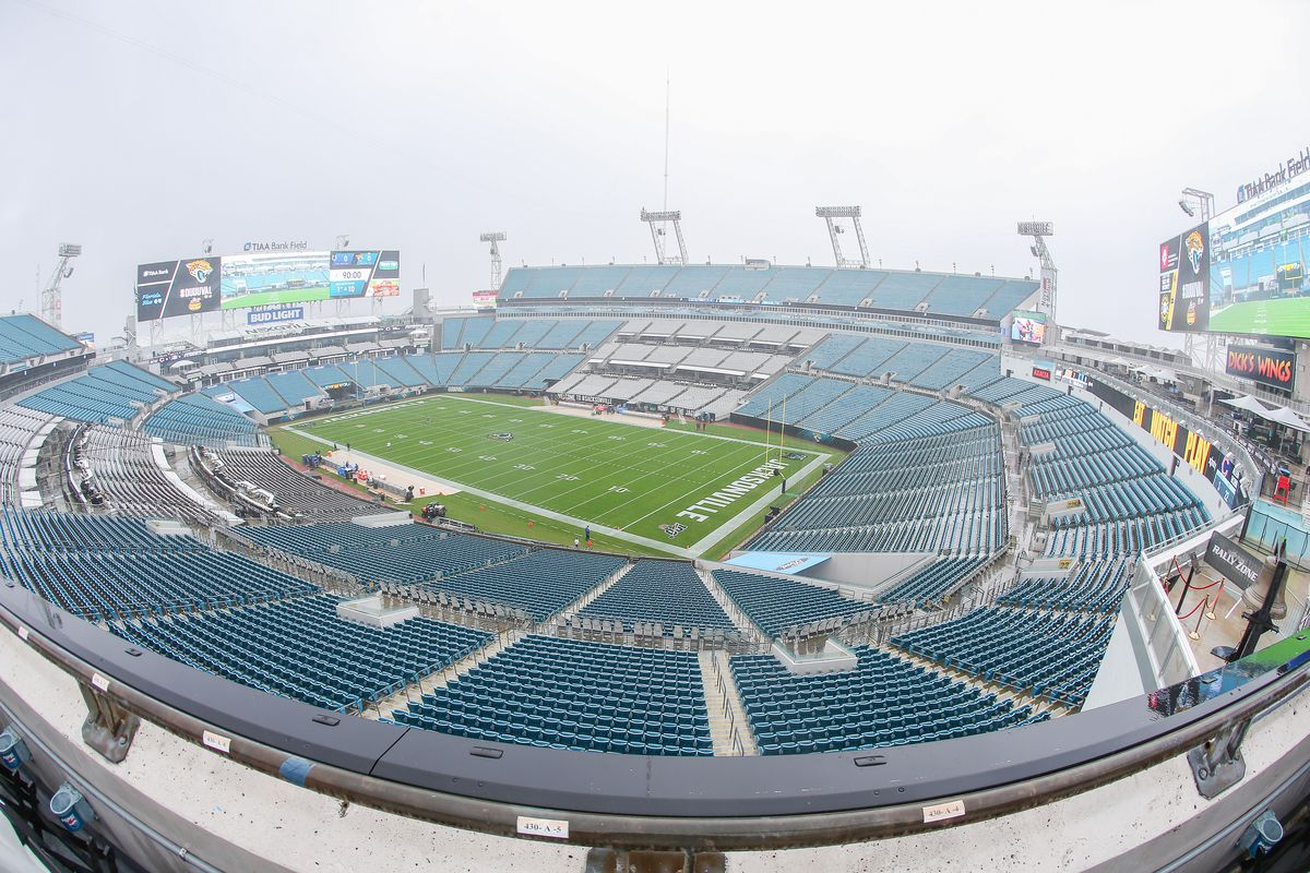 A general view of TIAA Bank Field before the start of a game between the Jacksonville Jaguars and Indianapolis Colts on December 29, 2019 in Jacksonville, Florida.