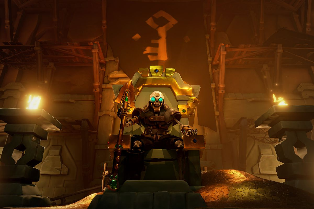 a creepy skeleton sits on a throne, surrounded by lit torches, in Sea of Thieves