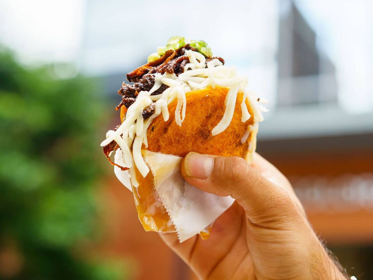 The beef mechada from Arepa Dealers