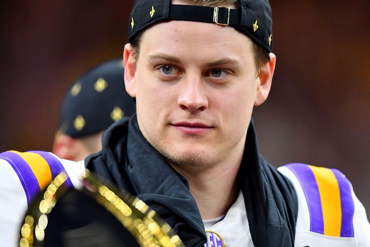 Joe Burrow of the LSU Tigers stands on the championship stage after the College Football Playoff National Championship game against the Clemson Tigers at the Mercedes Benz Superdome on January 13, 2020 in New Orleans, Louisiana.