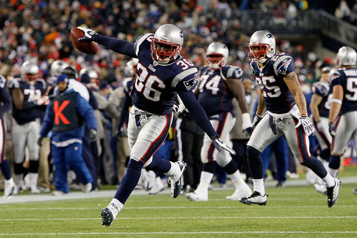 FOXBORO MA - DECEMBER 06:  James Sanders #36 of the New England Patriots celebrates after he intercepted a pass against the New York Jets at Gillette Stadium on December 6 2010 in Foxboro Massachusetts.  (Photo by Jim Rogash/Getty Images)