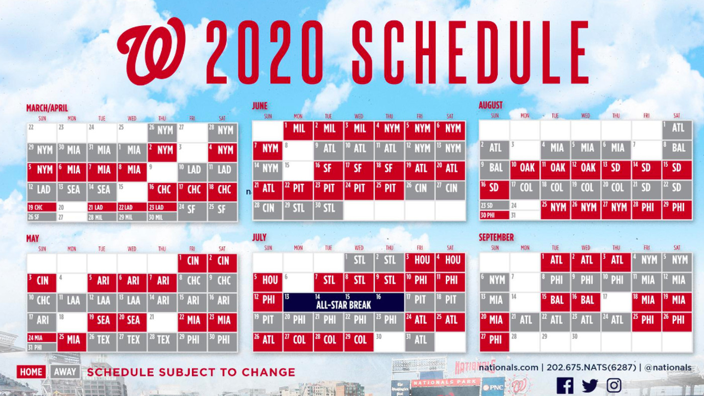 Astros Schedule 2020 Printable.Washington Nationals 2020 Schedule Released Highlights