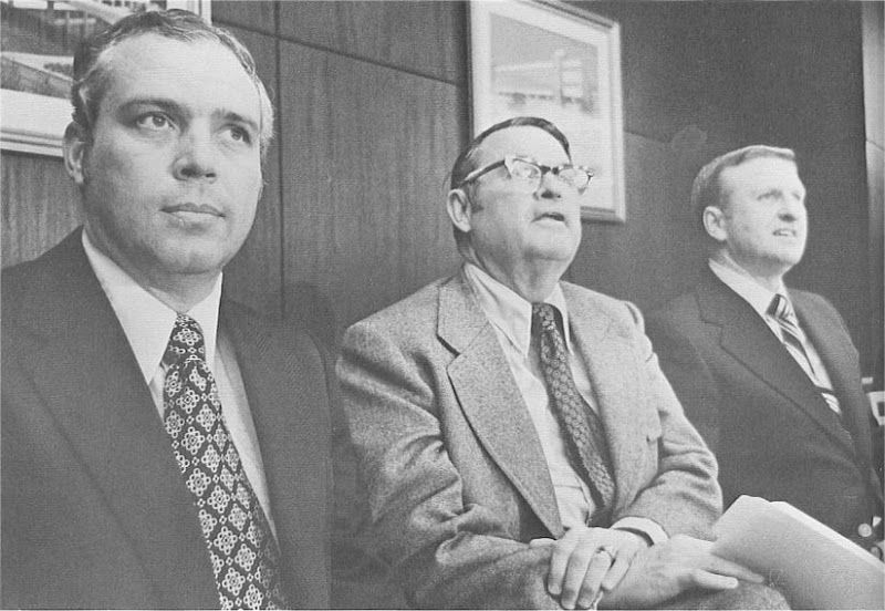 Hootie Ingram (left) with Clemson AD Bill McLellan (center) and Red Parker (right) in 1972 press conference announcing Ingram's resignation and Parker's succession as Clemson head football coach [https://lh6.googleusercontent.com/-NHvQE2cCrR4/UZqAT_wgquI/AAAAAAABUfk/0xyO45lj0Mw/s800/72Hootie.jpg]