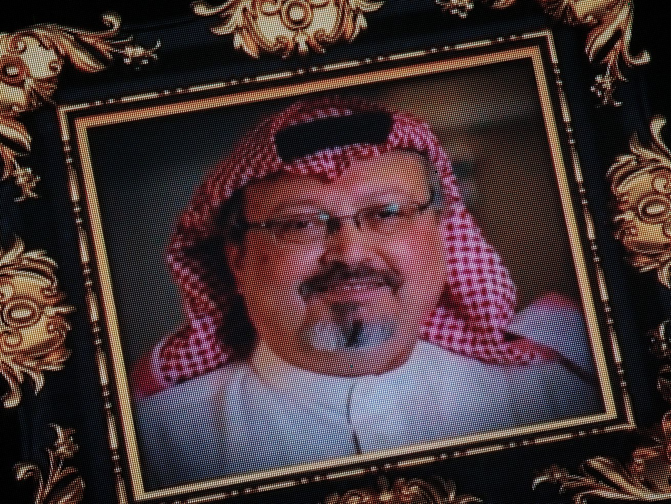 Images of murdered journalist Jamal Khashoggi are seen on a big screen during a commemorative ceremony held on November 11, 2018 in Istanbul, Turkey.