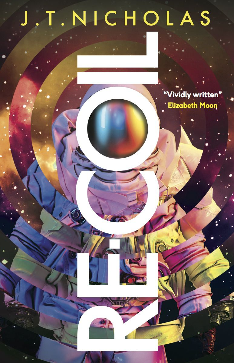 an astronaut on the cover of Re-Coil by J.T. Nicolas