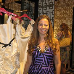 Milly designer Michelle Smith with dresses from her wedding collection.
