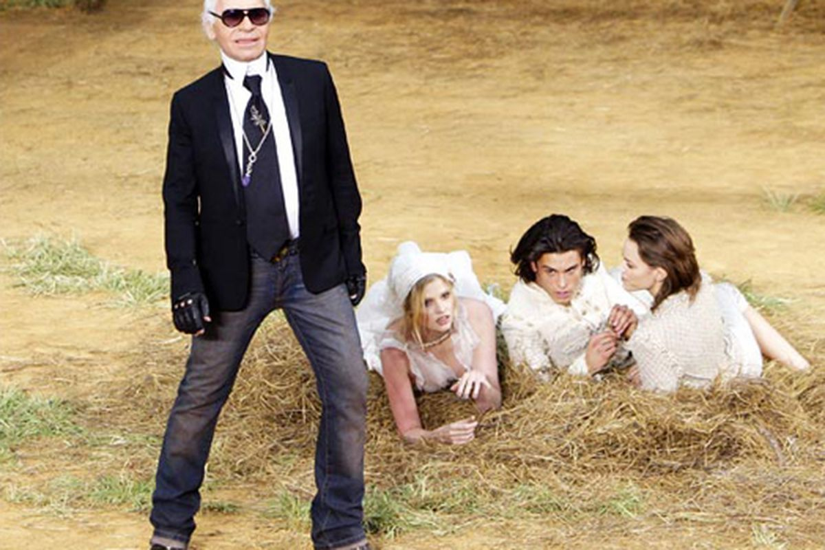 """Weirdly, this is not an outtake from our Karl Lagerfeld Photoshop contest.  Via the <a href=""""http://women.timesonline.co.uk/tol/life_and_style/women/fashion/article6863152.ece?slideshowPopup=true&amp;articleId=6863152&amp;nSlide=18&amp;sectionName=W"""