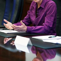 U.S. Secretary of the Interior Sally Jewell meets with the Deseret Media Companies Editorial Board in Salt Lake City, Wednesday, Aug. 5, 2015.
