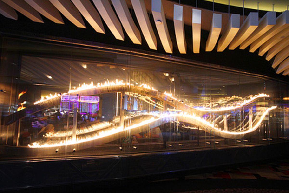 The Gordon Ramsay BurGR flame-effect wall