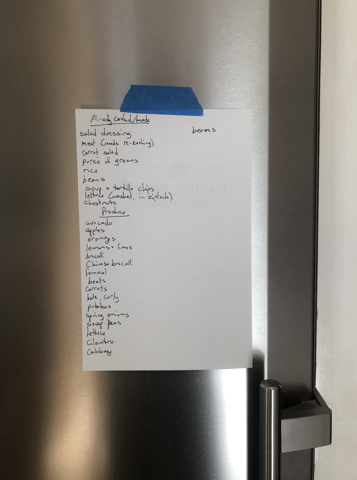 A list of ingredients and dishes taped to the outside of a metal fridge.